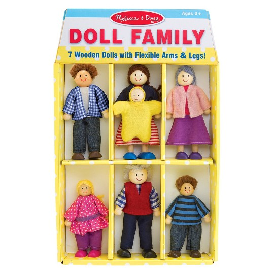Melissa & Doug 7-Piece Poseable Wooden Doll Family for Dollhouse (2-4 inches each) image number null