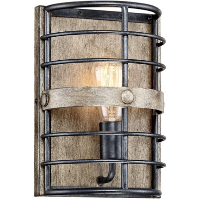 """Franklin Iron Works Rustic Farmhouse Wall Light Sconce Oil Rubbed Bronze Hardwired 11 1/2"""" High Fixture Bedroom Bathroom Hallway"""