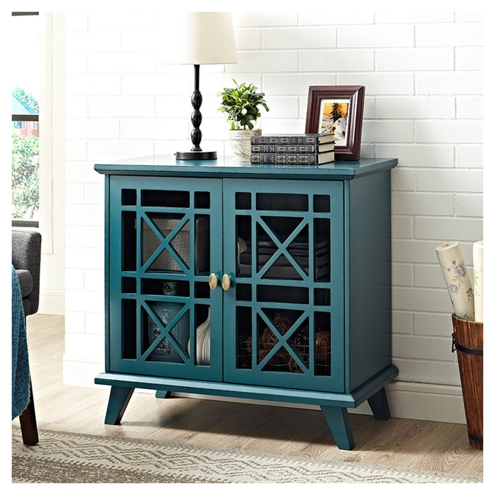 "Image of ""32"""" Gwen Fretwork Accent Console - Blue - Saracina Home"""