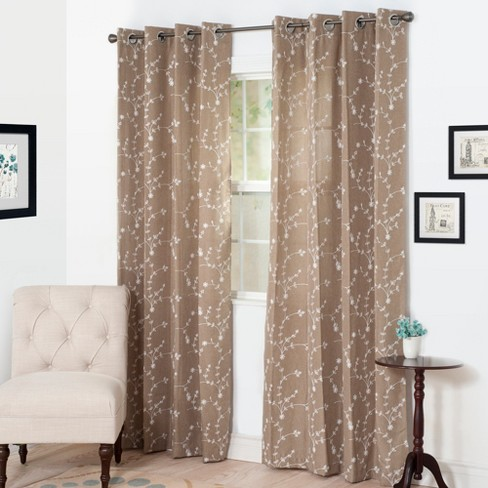 "Yorkshire Home Inas Embroidered Curtain Panel - 84"" - Taupe - image 1 of 4"