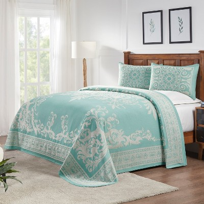 Traditional Medallion Lightweight Textured Woven Jacquard Cotton Blend 3-Piece Bedspread Set, Full, Turquoise - Blue Nile Mills