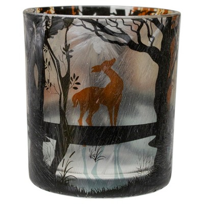 "Northlight 3"" Hand Painted Forest and Deer Flameless Glass Candle Holder"