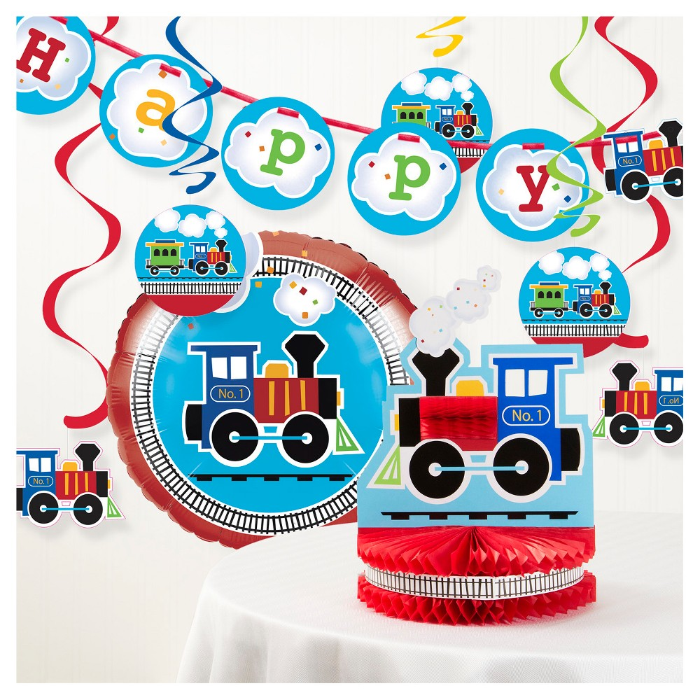 Image of All Aboard Train Birthday Party Decorations Kit