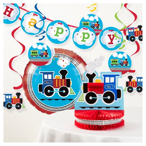 All Aboard Train Birthday Party Decorations Kit Target