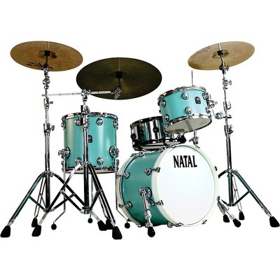 Natal Drums Cafe Racer Traditional Jazz 3-Piece Shell Pack with 18 in. Bass Drum Seafoam Green Hot Rod Suede