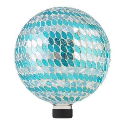 "Alpine 11"" Petals Mosaic Glass Gazing Globe Blue"