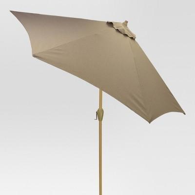 9' Round Patio Umbrella Taupe - Light Wood Pole - Threshold™
