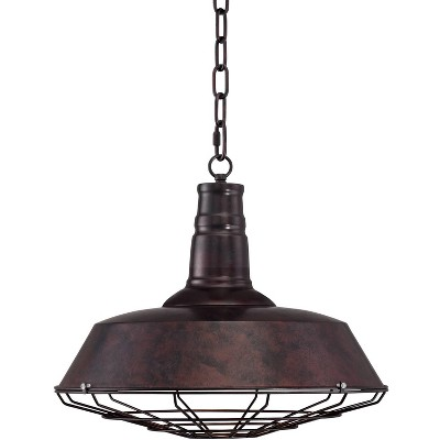 """Franklin Iron Works Rust Bronze Cage Pendant Light 18 1/4"""" Wide Industrial Farmhouse Fixture for Kitchen Island Dining Room"""