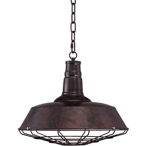 """Franklin Iron Works Rust Bronze Cage Pendant Light 18 1/4"""" Wide Industrial Farmhouse Fixture for Kitchen Island Dining Room - image 1 of 4"""