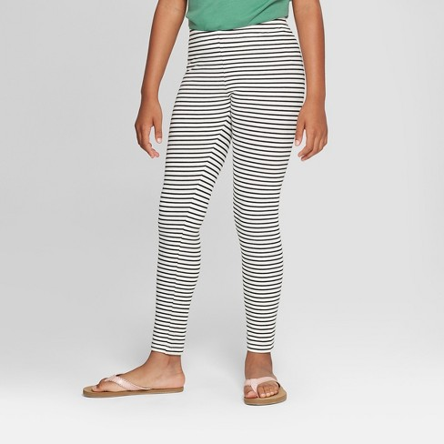 Girls' Stripe Print Leggings - Cat & Jack™ Black/White - image 1 of 3