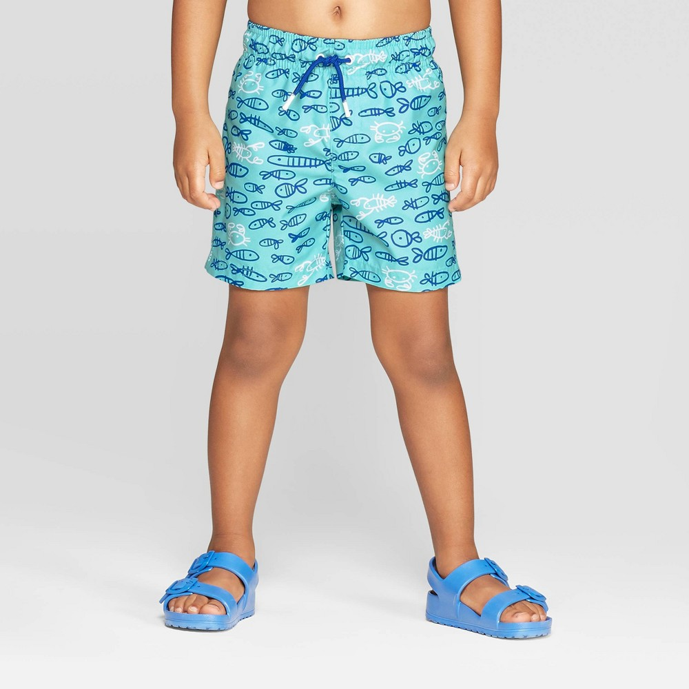 2cdba81196 Toddler Boys Fish Print Swim Trunks Cat Jack Aqua 4T Blue