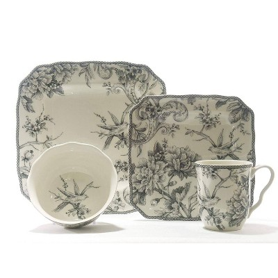 16pc Porcelain Adelaide Square Dinnerware Set Gray - 222 Fifth