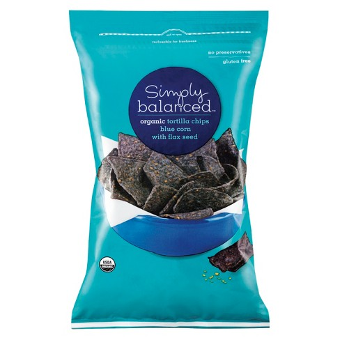Organic Blue Corn With Flax Seed Tortilla Chips - 12oz - Simply Balanced™ - image 1 of 4
