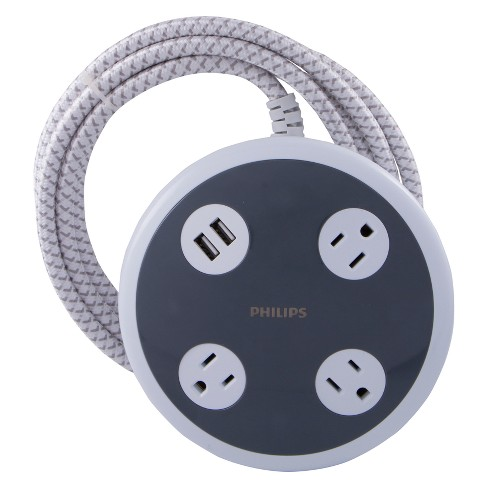Philips 3-Outlet 450J Surge Protector Orb with 2USB Charging, 8' Braided Cord - White - image 1 of 5