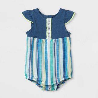 Baby Girls' Knit Textured Romper - Cat & Jack™ Blue 0-3M