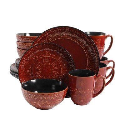 Gibson Elite 16pc Stoneware Milanto Dinnerware Set Red