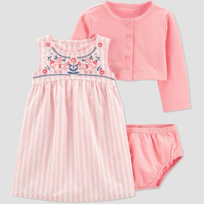 Baby Girls' Elephant Embroidered Cardigan Dress Set - Just One You® made by carter's Pink 6M