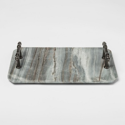 12  x 7  Marble Serving Tray With Handles Gray - Threshold™