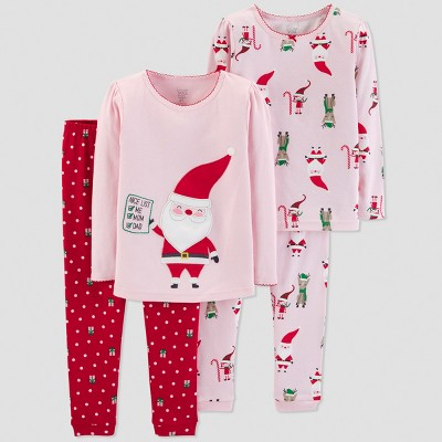 Baby Girls' 4pc Santa's List Pajama Set - Just One You® made by carter's Pink 12M