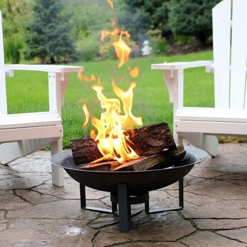 Play Modern 23 Cast Iron Wood Burning Fire Pit Round Sunnydaze Decor 3 More