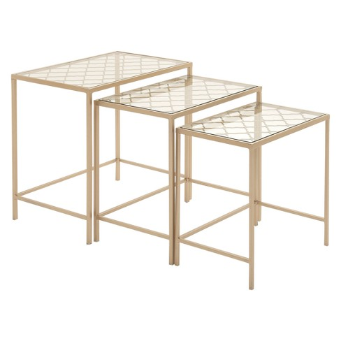 Metal Nesting Tables Pale Set Of 3 Gold Olivia May
