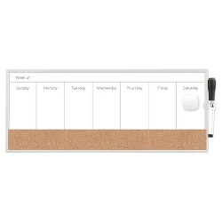 "Ubrands Magnetic Dry Erase Weekly Planner 7.5""x18"" White"
