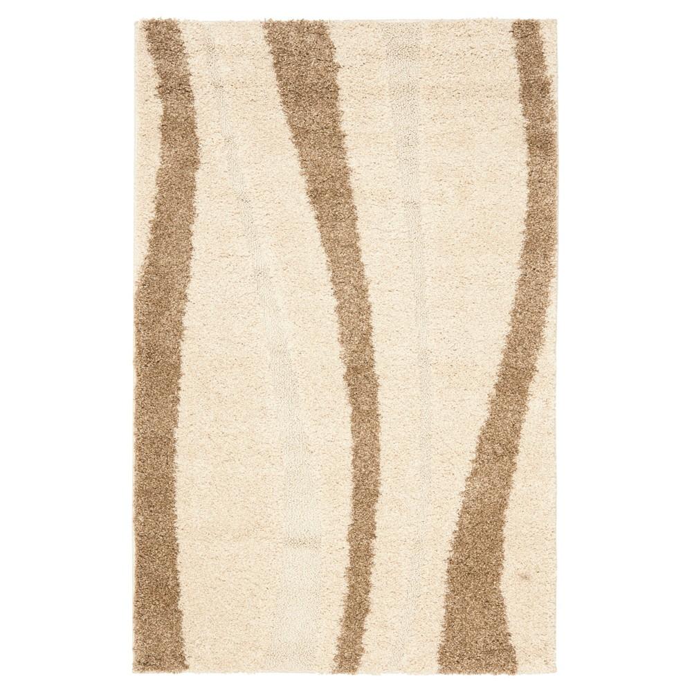Cream/Dark Brown Abstract Tufted Area Rug - (4'X6') - Safavieh, Ivory/Dark Brown