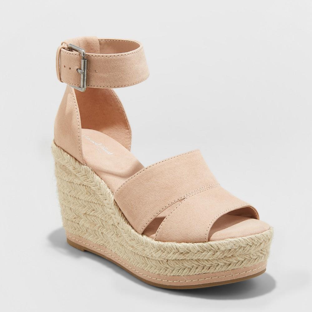Women's Caroline Wide Width Microsuede Ankle Strap Espadrille Wedge - Universal Thread Blush 7.5W, Size: 7.5 Wide