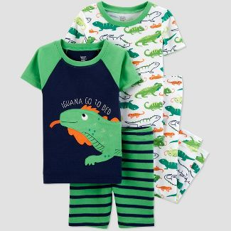 Baby Boys' 4pc Green Iguana Pajama Set - Just One You® made by carter's Green/White 18M