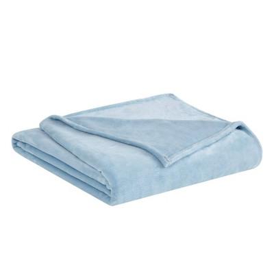 Full/Queen Velvet Plush Bed Blanket Light Blue - Truly Soft