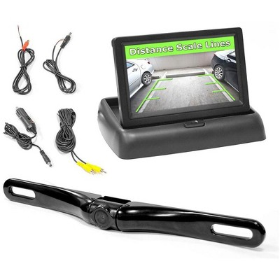 Pyle PLCM4500 Rear View Universal Vehicle Car Adjustable Backup Camera and 4.3 Inch TFT/LCD Pop Up Monitor System with Installation Wires and Cables
