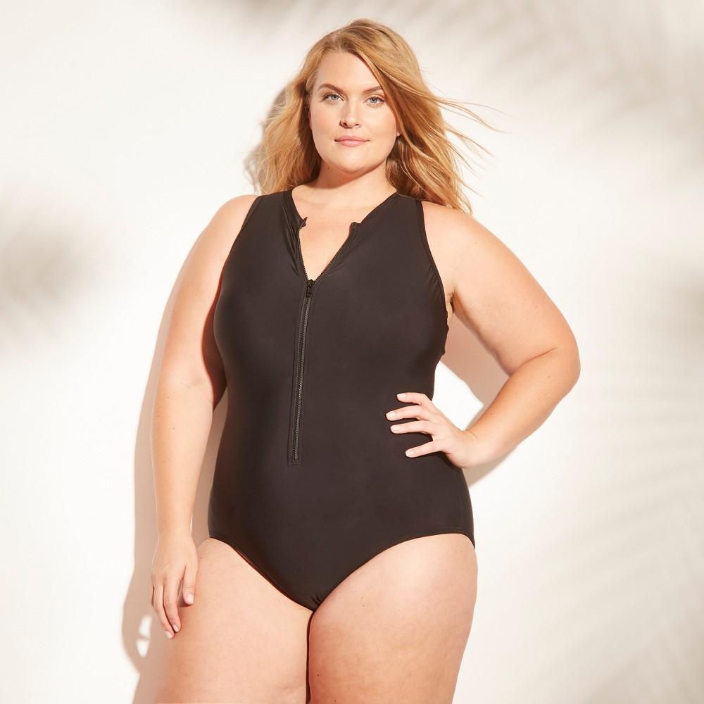 Women's Zip Front One Piece Swimsuit - Aqua Green Black-Coral 24W, Black