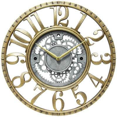 Infinity Instruments 20031GS Decorative Industrial Weathered Gear 15.5 Inch Diameter Quartz Battery Wall Clock, Gold Case, Silver Face, & Gold Hands