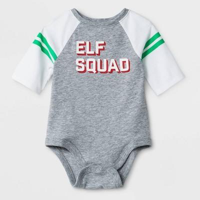 Baby  Elf Squad  Raglan Sleeve Bodysuit - Cat & Jack™ Heather Gray 6-9M