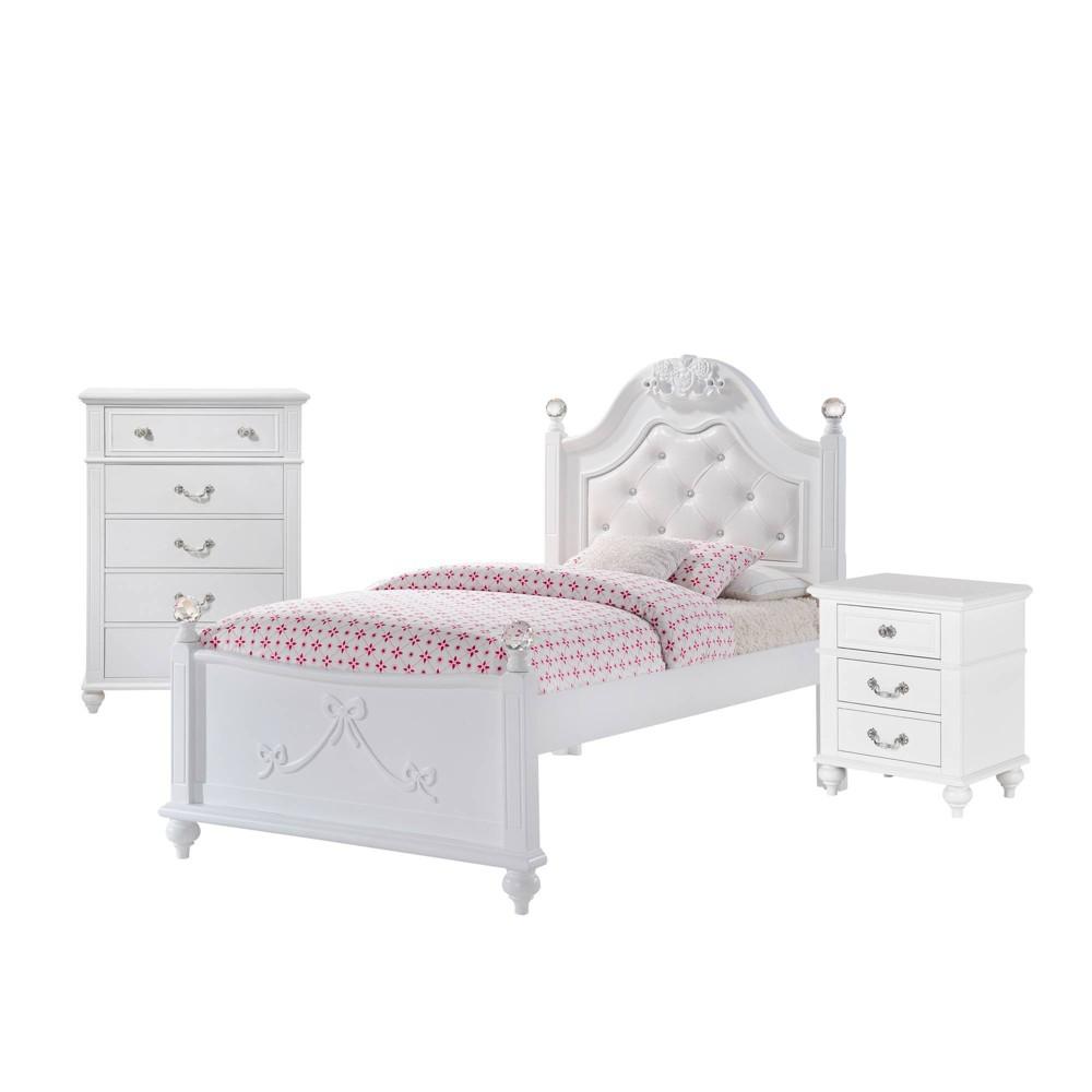 3pc Twin Annie Platform Bedroom Set White - Picket House Furnishings