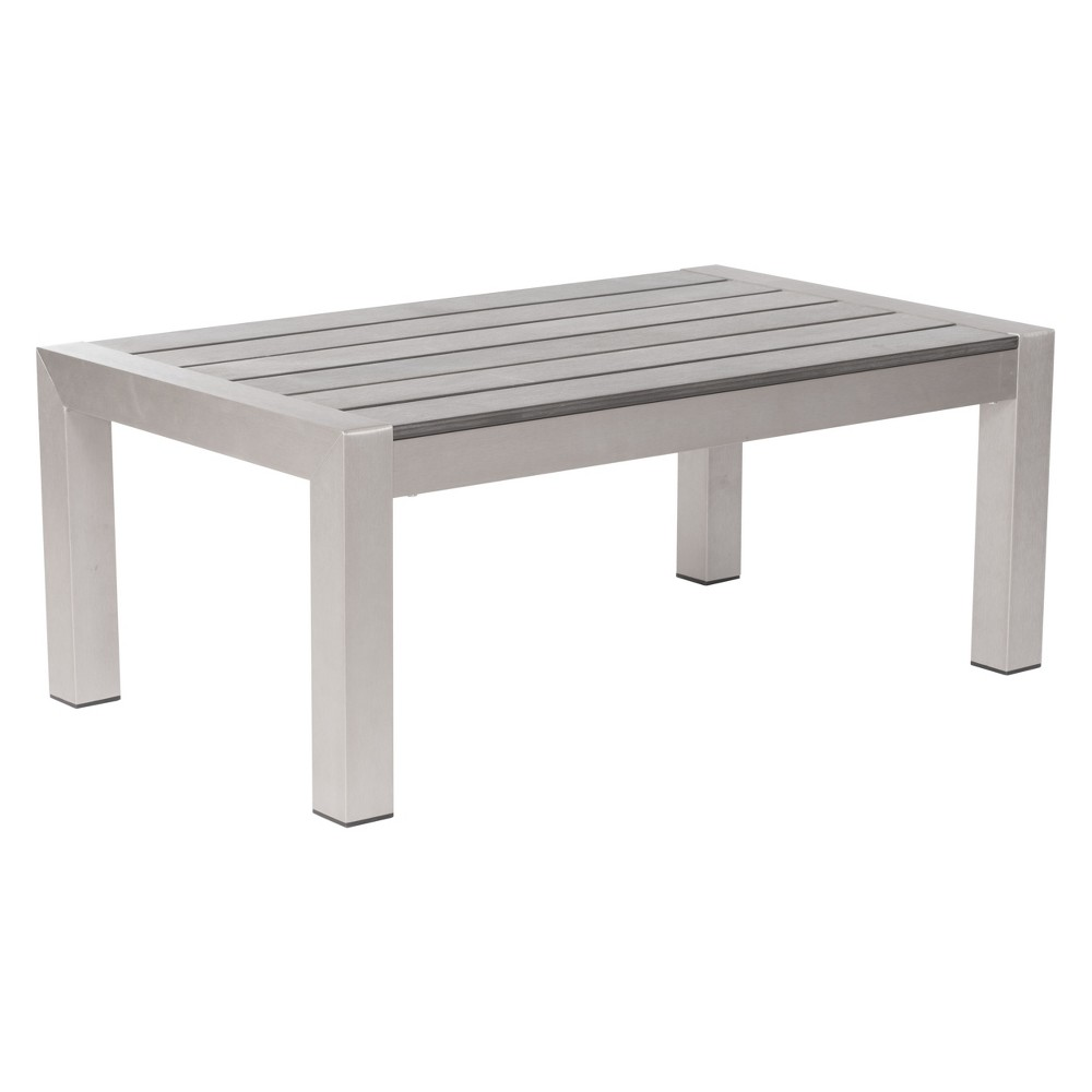 "Image of ""39"""" Modern Brushed Aluminum Coffee Table - ZM Home, Silver"""