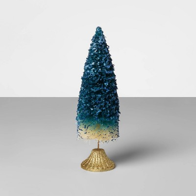 12  x 3.5  Bottle Brush Christmas Tree Blue/Gold - Opalhouse™