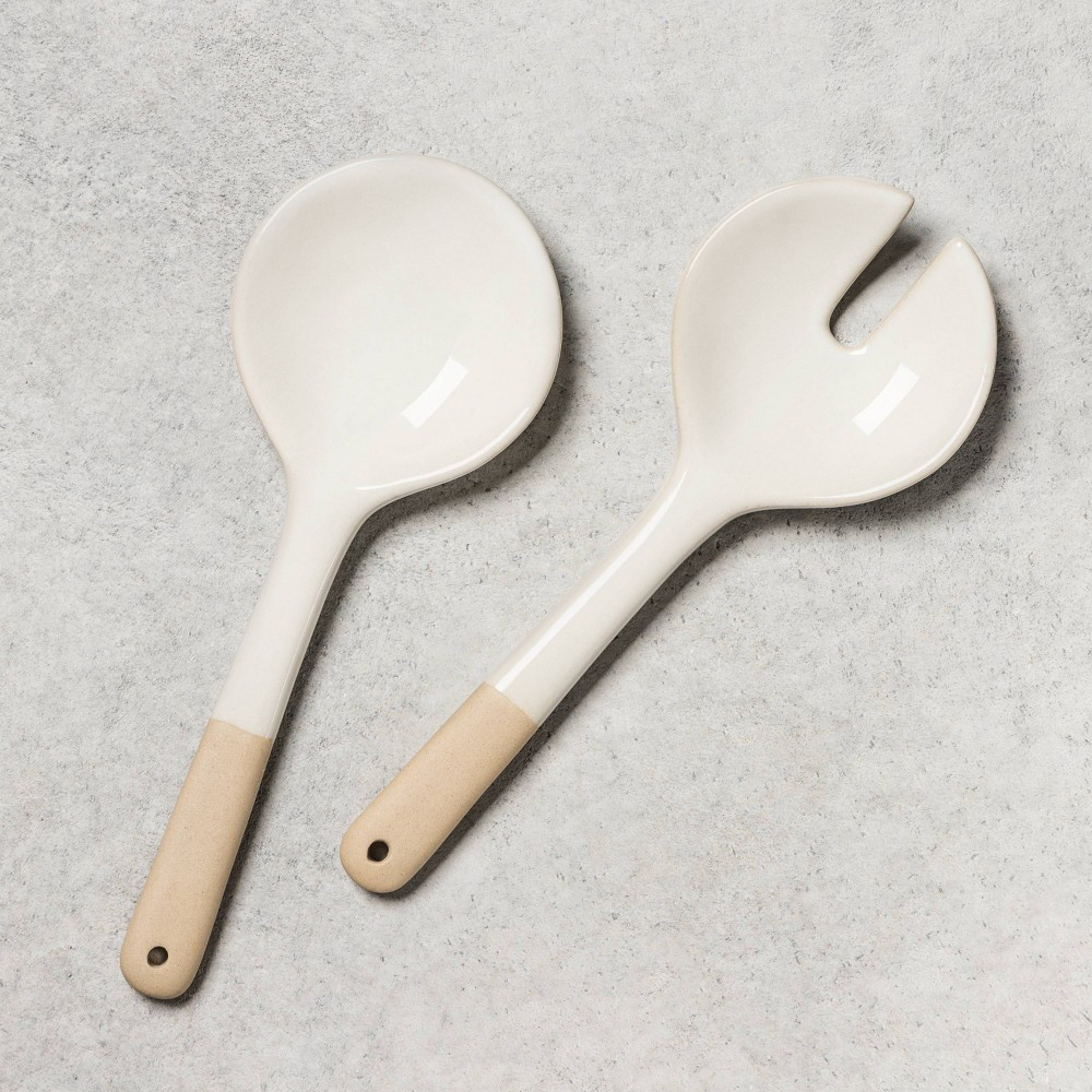 Image of 2pc Stoneware Salad Tongs - Hearth & Hand with Magnolia