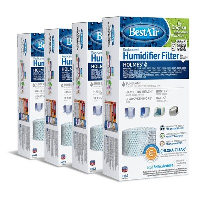 BestAir 4pk H62 Humidifier Air Control Filter For Holmes