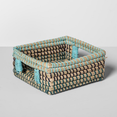 Seagrass Woven Napkin Holder 7.25  x 7.25  Brown/Blue - Opalhouse™