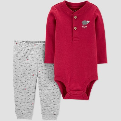 Baby Boys' 2Pc Valentine's Day Top and bottom set - little planet organic by carter's Red 6M