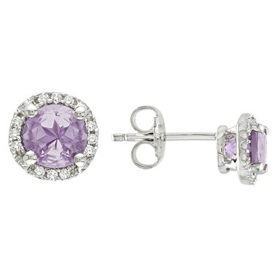 Amethyst and Diamond Earrings in Sterling Silver - Purple