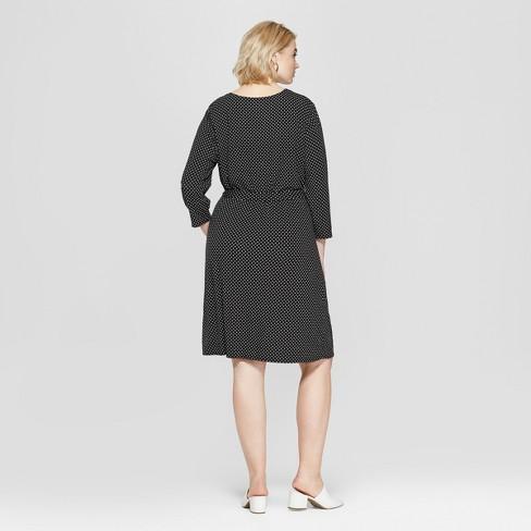 d18b13a80c9d7 Women's Plus Size Polka Dot 3/4 Sleeve Wrap Midi Dress - Ava & Viv™  Black/White
