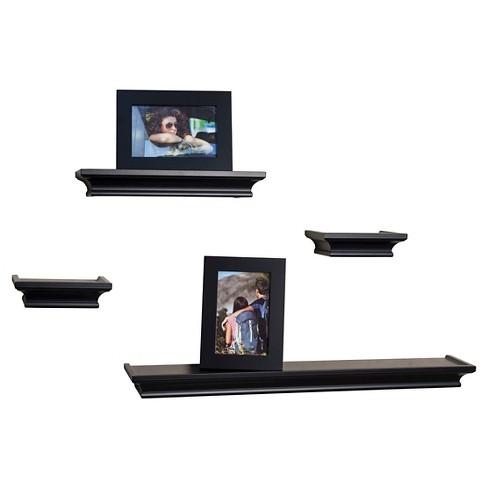 Danya B. Cornice Ledge Shelves with Photo Frames – Set of 4 – Black ...