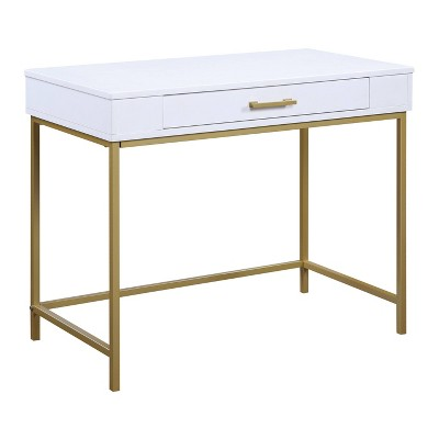 Modern Life Desk with Gold Metal Legs White Finish - OSP Home Furnishings