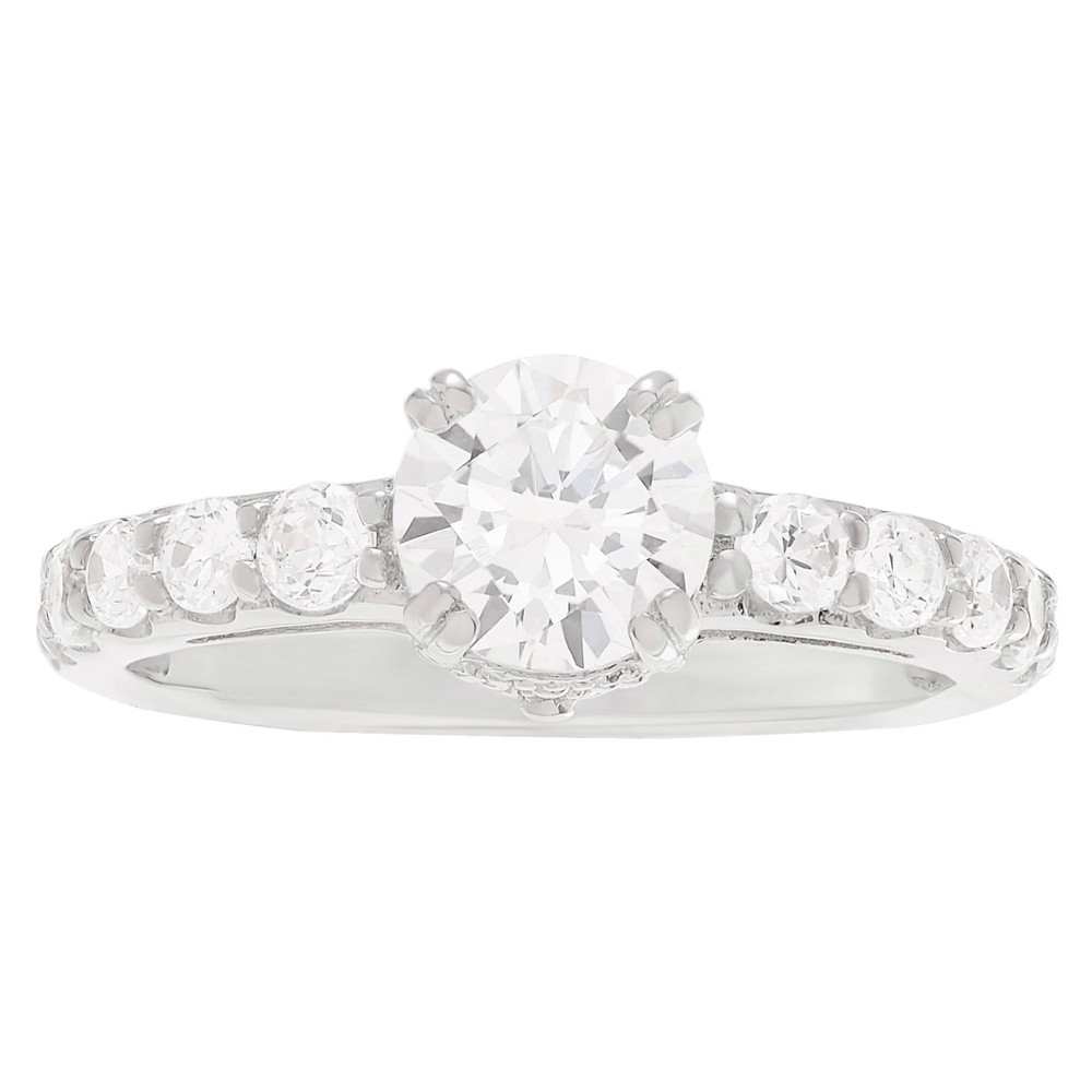 3/5 CT. T.W. Round-cut Cubic Zirconia Engagement Basket Set Ring in Sterling Silver - Silver, 7, Girl's