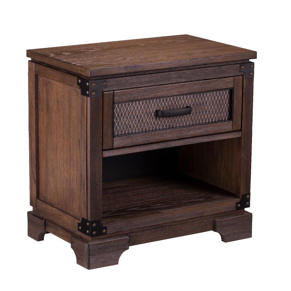 Janson Single Drawer Nightstand Antiqued Whiskey Maple Brown - Aiden Lane
