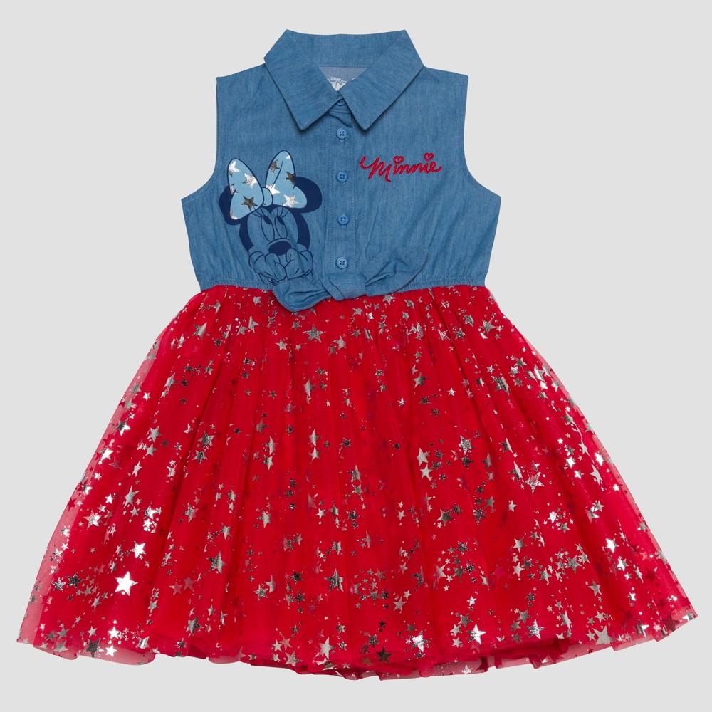 Toddler Girls' Disney Mickey Mouse & Friends Minnie Mouse A Line Dress - Light Denim 18M, Blue