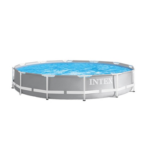 Sensationelle Intex 12 Foot X 30 Inches Prism Frame Above Ground Pool W/ 530 Gph NZ98
