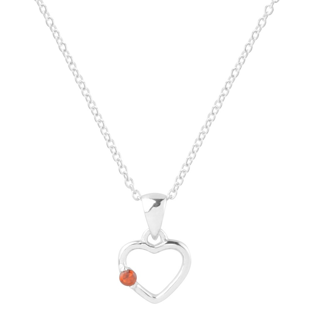 1/10 CT. T.W. Round-Cut Cubic Zirconia Pave Set Heart Birthstone Necklace in Sterling Silver - Red, Girl's